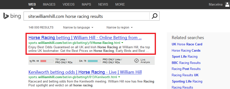 Bing Horse Racing Results