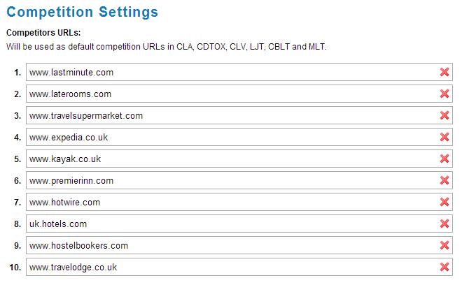 competition settings