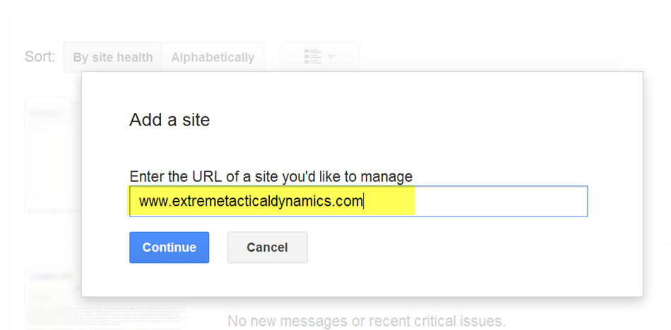 Google Search Console (Google Webmaster Tools) add a site