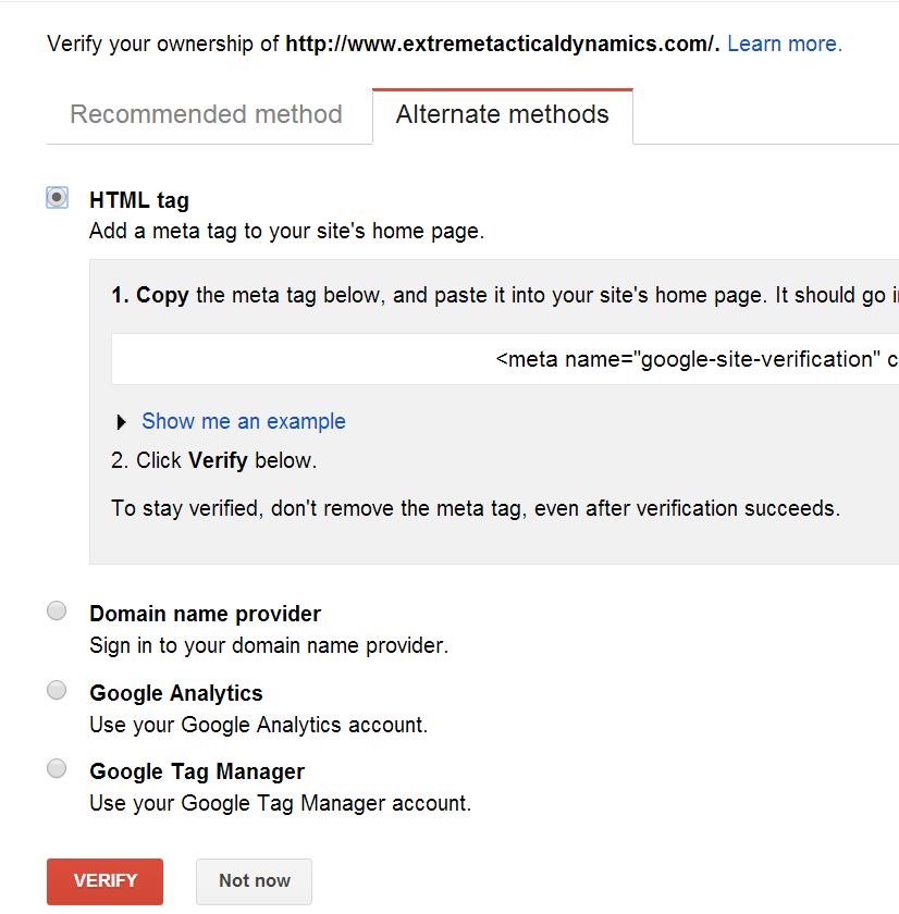 Google Search Console (Google Webmaster Tools) alternate methods