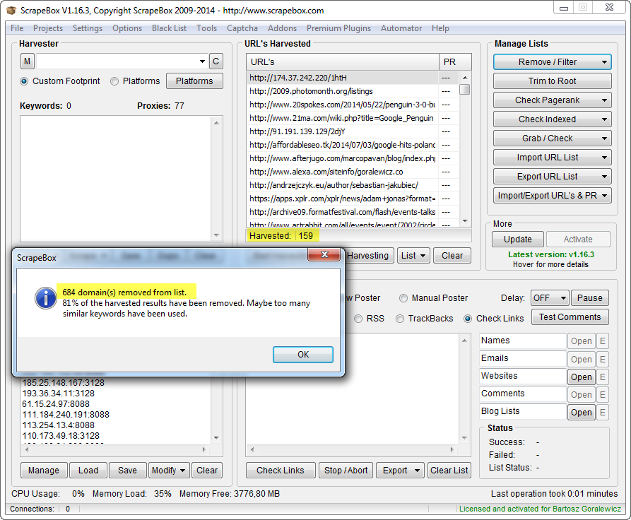 remove duplicate domains results