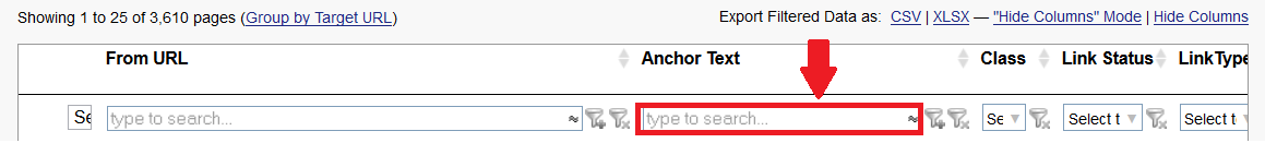 LRT Search for links by anchor text