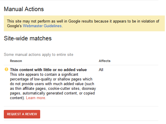 google-manual-action-thin-content