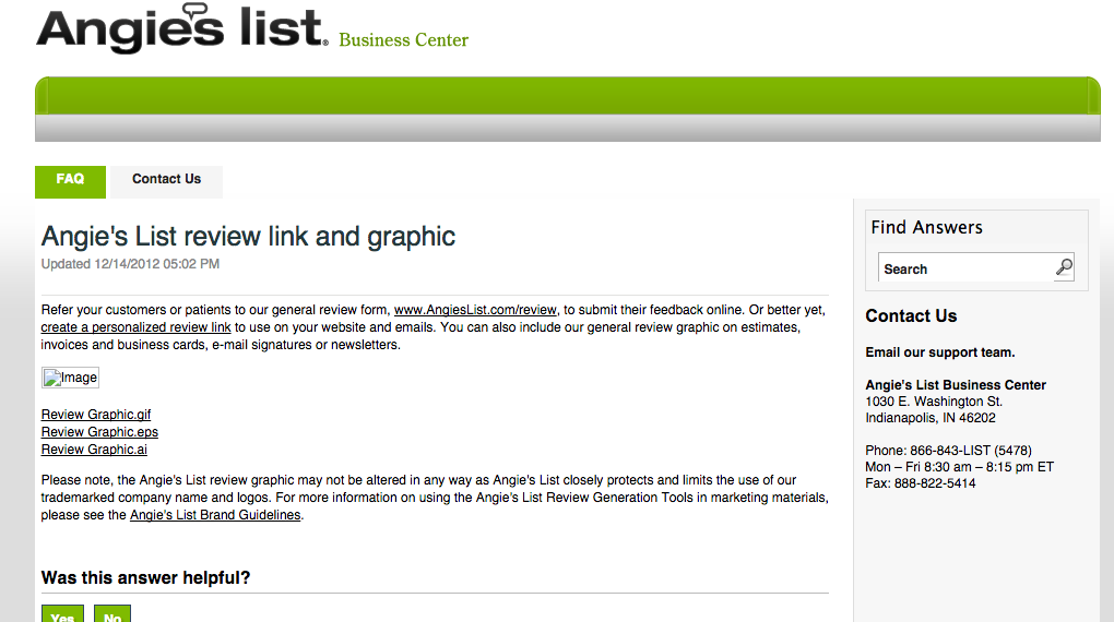 Customise your Angies List review link and graphic