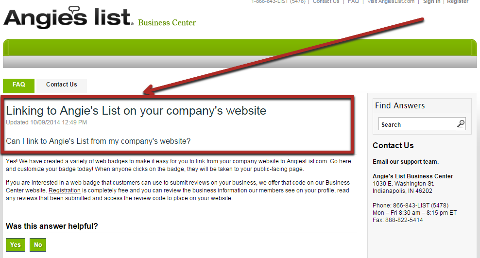 Links to Angies List on your company website