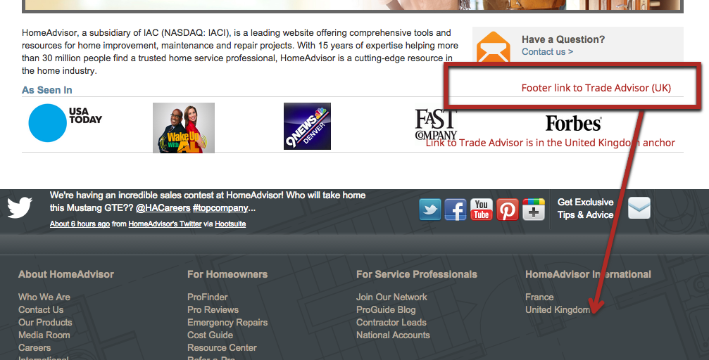 HomeAdvisor International sites with anchor on United Kingdom sitewide