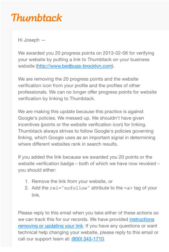 Thumbtack sends email asking for Links to be removed or nofollowed