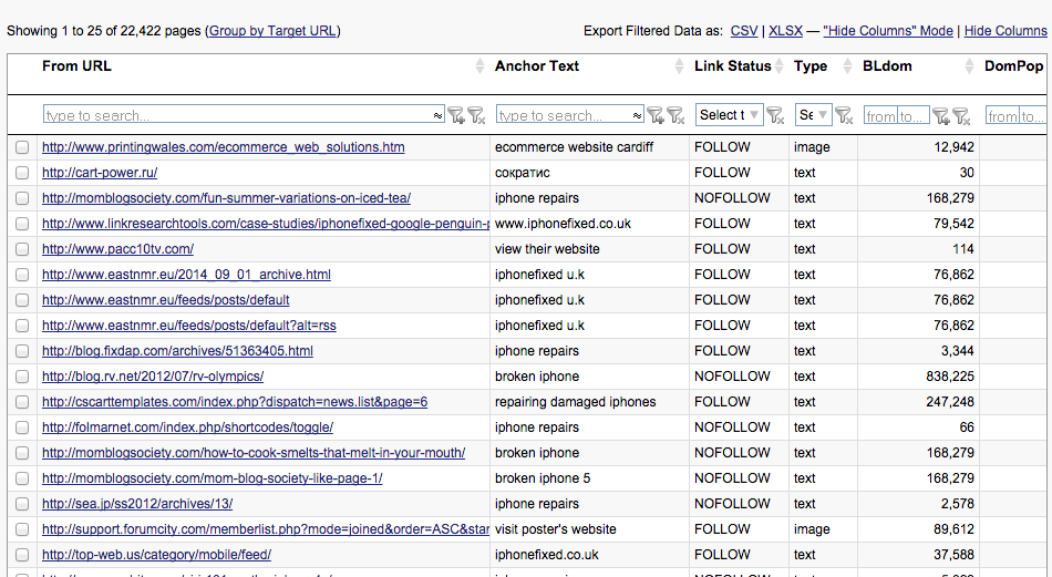 Quick Backlinks Tool Results Table