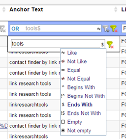 Use a regular expression to find all links ending with a specific word.
