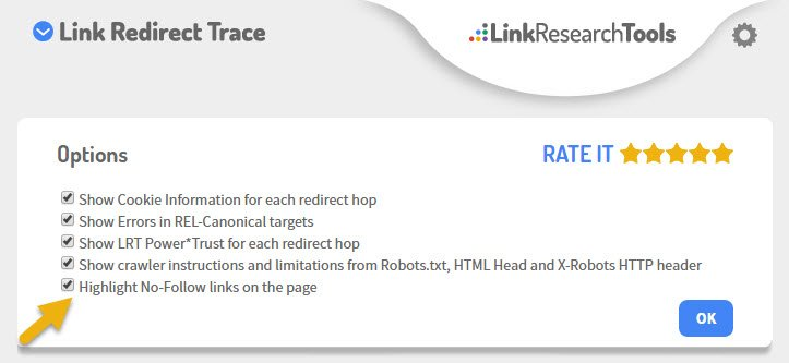 link-redirect-trace-highlight-nofollow-links