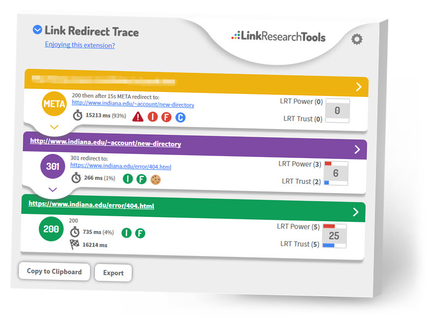 Link Redirect Trace Toolbar