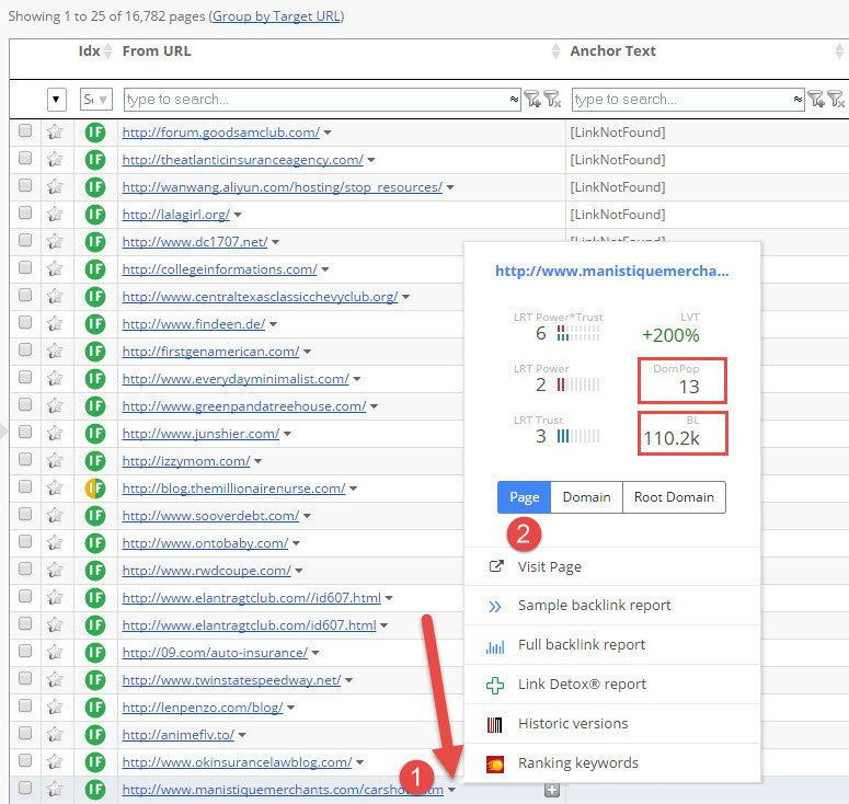 context menu backlinks to page