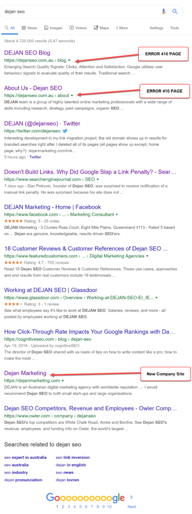 surfacing multiple pages with 410 is very undesirable for anyone - the user searching, the publisher and of course Google